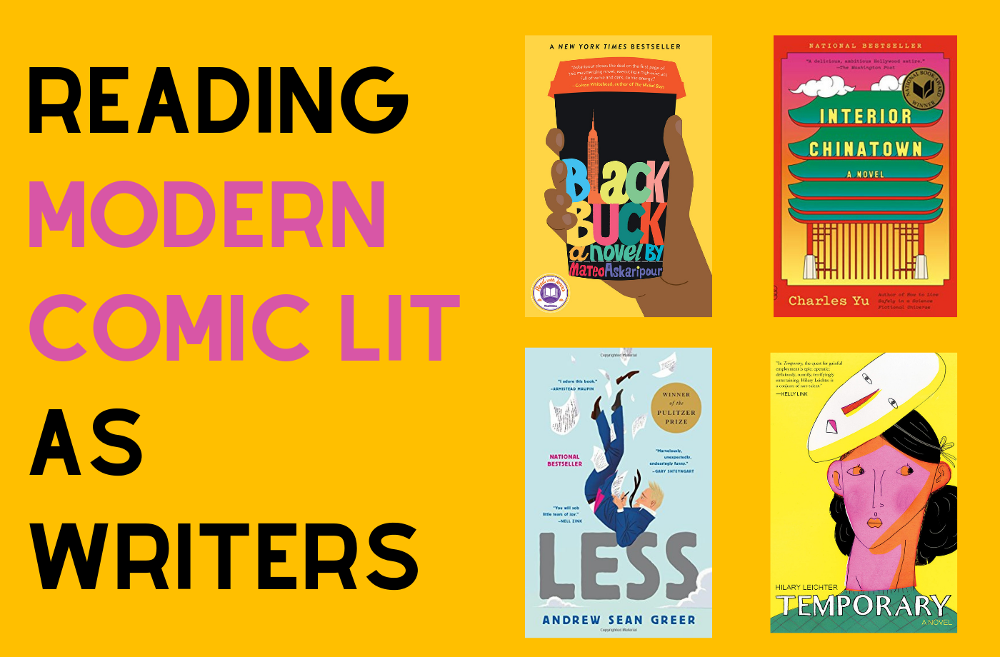 Catapult online classes: Caitlin Kunkel, 4 Weeks of Reading Modern Comic Lit as Writers Online, Fiction, Reading Group