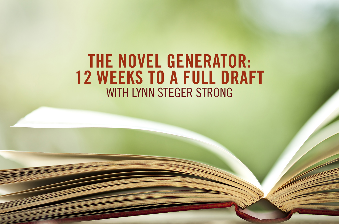 Catapult  classes: Lynn Steger Strong, The Novel Generator: Twelve Weeks to a Full Draft, Novel, Workshop