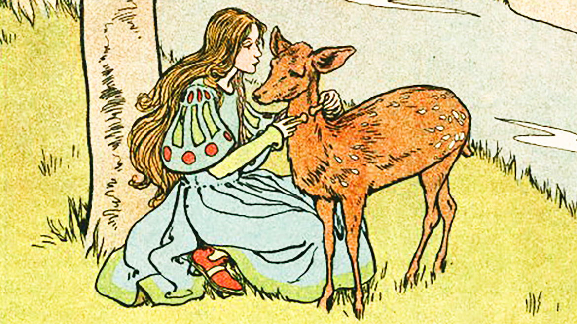 "Cover Photo: a vintage illustration of a young woman next to a fawn, a scene from the fairy tale ""Brother and Sister"""