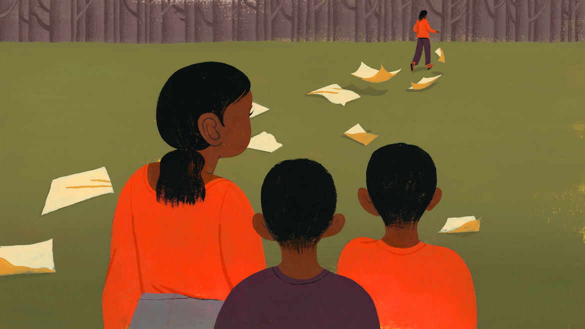 Cover Photo: Illustration by Celia Jacobs of a woman dropping pages in the forest, her children watching and following.