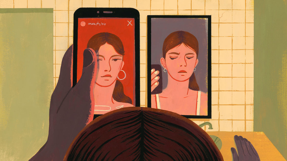 Cover Photo: An illustration of a woman staring at a bathroom mirror and comparing herself to an image of a similar-looking woman on her phone