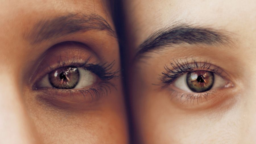 Cover Photo: A close-up for two women's faces, focusing on their eyes, which are identical in color.