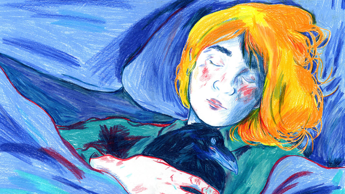 Cover Photo: An illustration done in colored pencils of a young girl sleeping in dark blue blankets, hugging her pet raven, cut marks and bruises visible on her hands.
