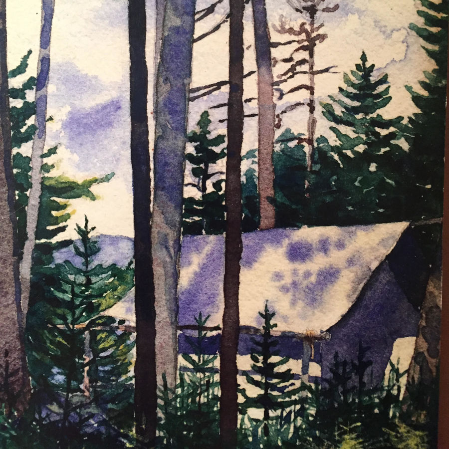 Cover Photo: This image is a water color painting of a small cabin nestled in between pine trees with low hills and sky and clouds in the background