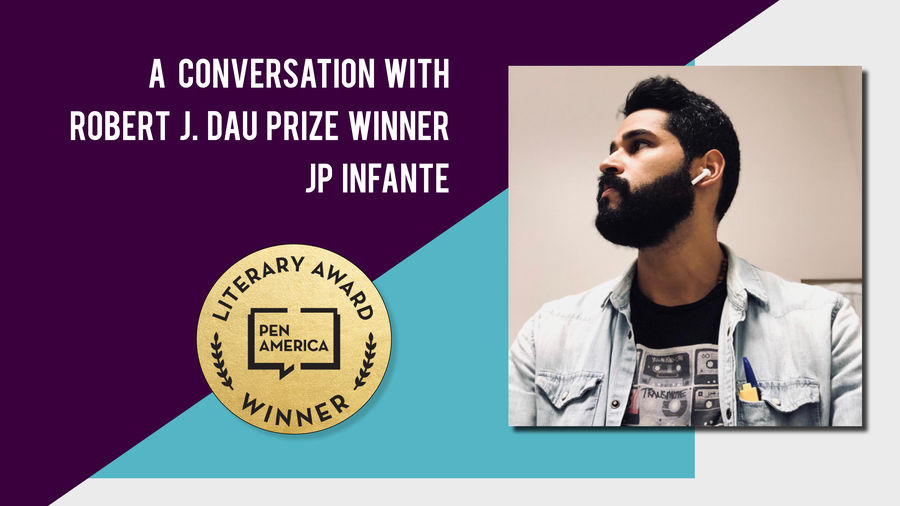 Cover Photo: A photo of JP Infante,  author and winner of the 2019 Robert J. Dau prize, wearing ear buds and looking away thoughtfully.