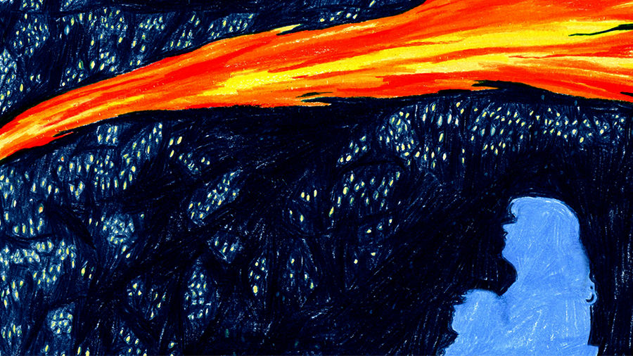 Cover Photo: This colored-pencil illustration shows the silhouettes of a mother and daughter as they look up at a dark starry sky being crossed by a orange, red, and yellow comet, like a fiery gash