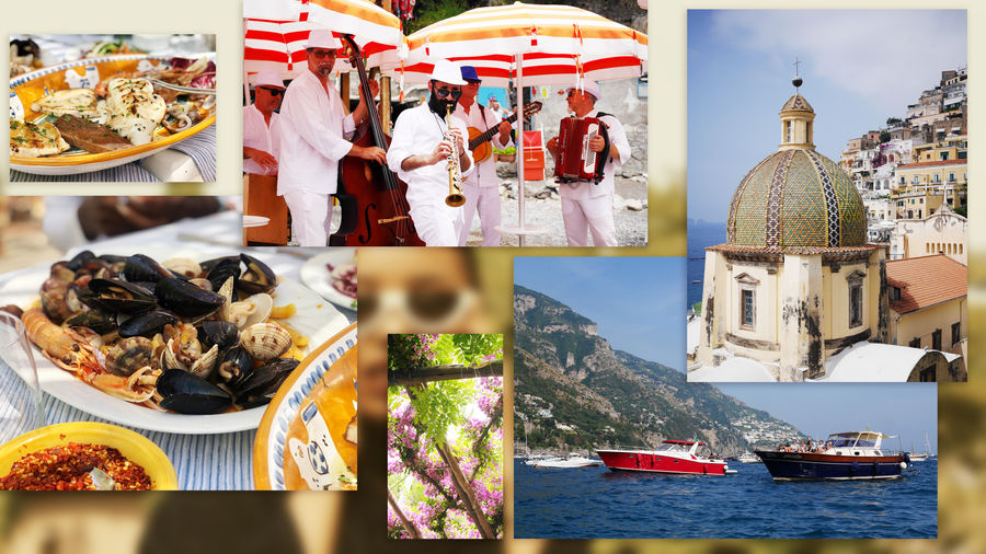 Cover Photo: A collage of images from the author's vacation in Positano, Italy: plates of pasta and seafood, a band playing music on the beach, a canopy of bougainvillea flowers, houses stacked on top of each other on a hillside, two passenger yachts on the sea