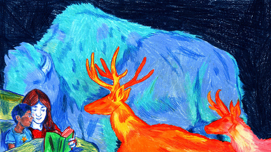 Cover Photo: Illustration of a mother reading to her son, with imagined antelope and buffalo roaming in the background