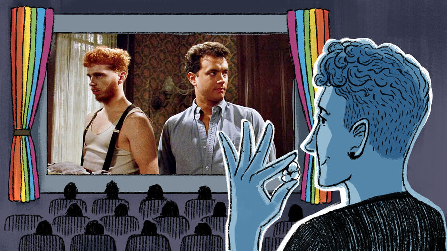 Cover Photo: An illustration of a young man watching a film in the movie theater; the screen is framed by rainbow curtains; projected onto the screen is a still from the Tom Hanks film 'The Burbs