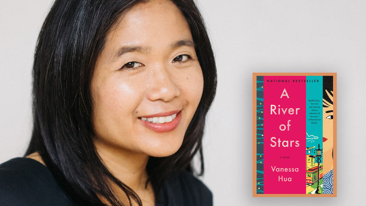 Cover Photo: Headshot of the author Vanessa Hua and the cover of her book, A RIVER OF STARS