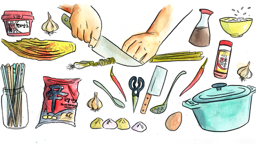 Cover Photo: Hands chopping scallions surrounded by various Korean  ingredients such as garlic, soy sauce, rice, among other Korean sample ingredients.