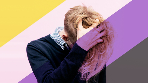 Cover Photo: An image of a person in a sweater over a gingham button-down shirt, holding their head in frustration, long blond hair between their fingers.