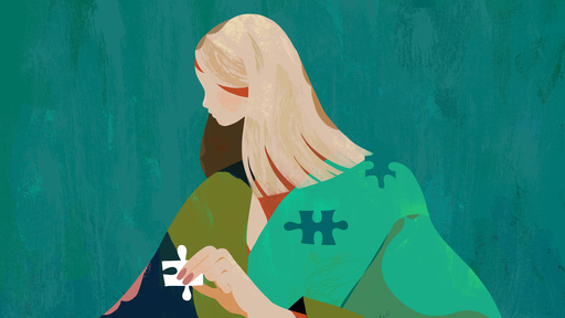 Cover Photo: An illustration by Kim Salt of a woman with long blond hair whose face is partially obscured, against a teal background holding a plain white puzzle piece while covered in a blue, green, khaki, and pink blanket. There are corresponding puzzle pieces missing within her own body.