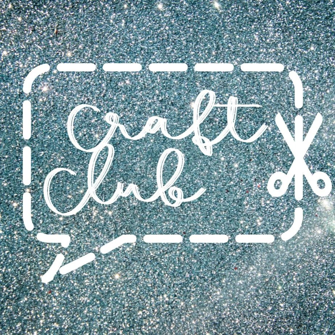 "Cover Photo: The Catapult Craft Club logo has a blue sparkly background with a speech bubble cut out with scissors around the words ""Craft Club"""