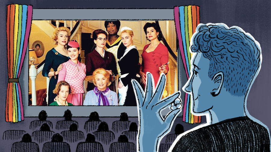 Cover Photo: An illustration of a young man watching a film in the movie theater; the screen is framed by rainbow curtains; projected onto the screen is a still from the French film '8 femmes'