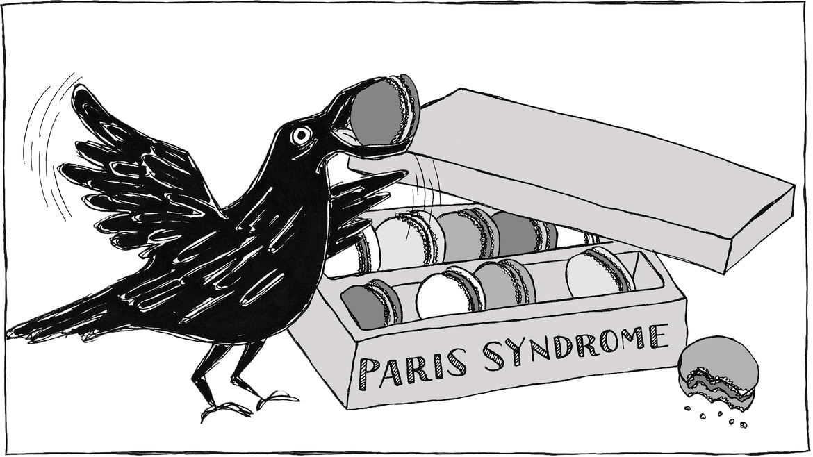 Cover Photo: An illustration of a crow eating a French macaron from a box of macarons