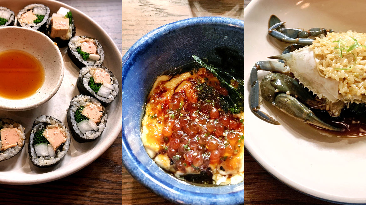 Cover Photo: A collage of dishes and plates from the Momofuku restaurant Kawi in New York City