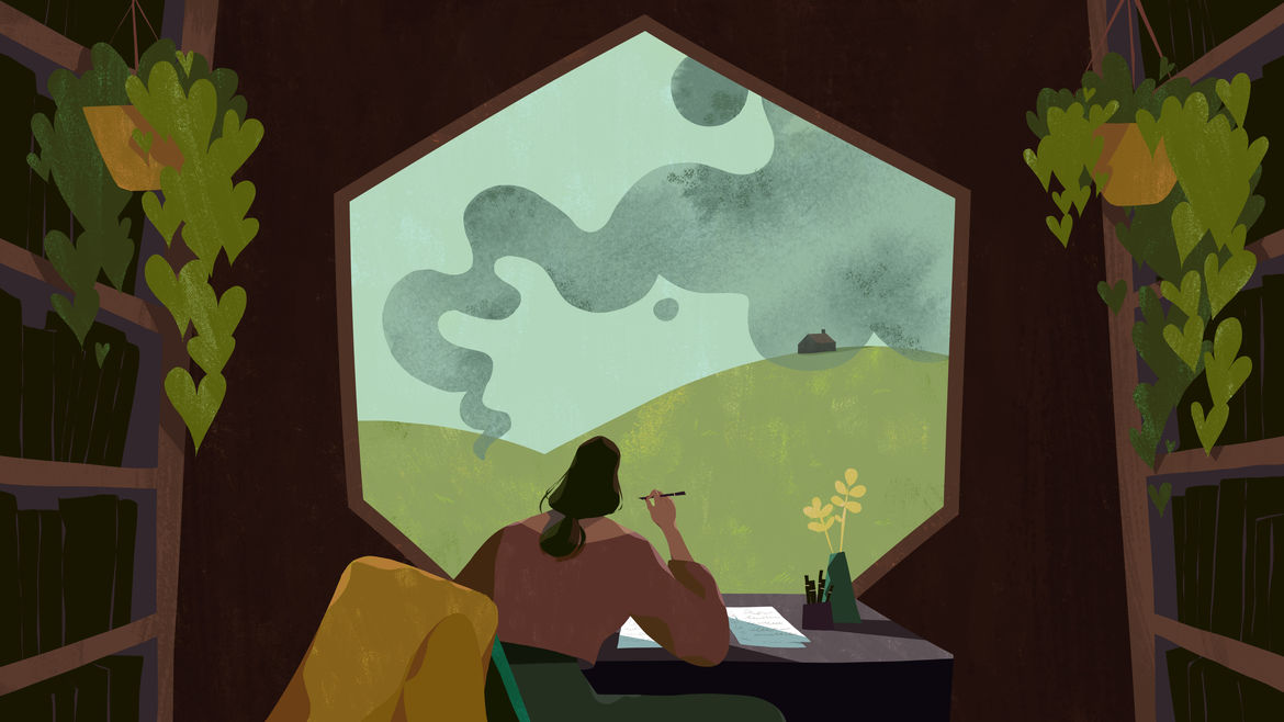 Cover Photo: An illustration of a woman watching a swarm of bees outside her hexagon-shaped window