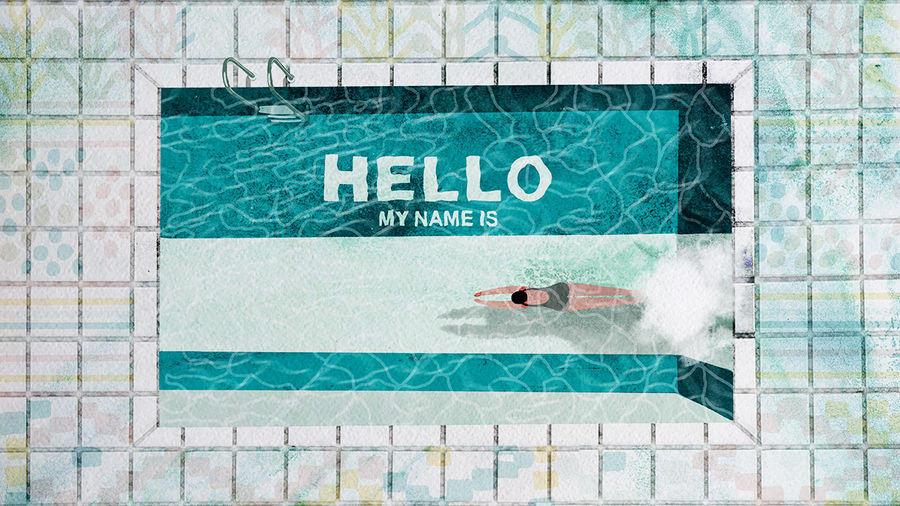 Cover Photo: illustration of a person diving into a pool resembling a nametag, with background words HELLO MY NAME IS; pool surrounded by tiles featuring Minang textile patterns