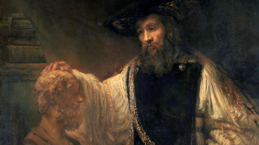 Cover Photo: A detail of a painting by the Dutch artist Rembrandt depicting Aristotle as an old bearded man contemplating a marble bust of Homer, also an old bearded man