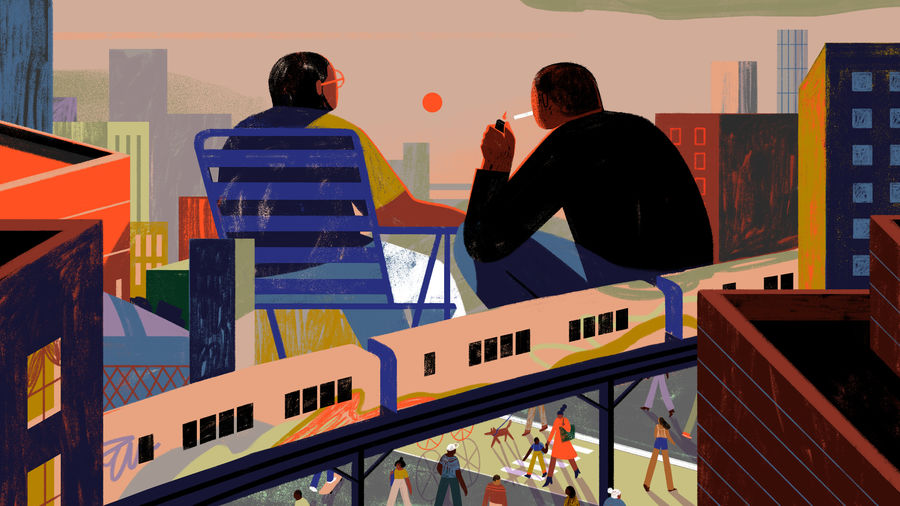 Cover Photo: A colorful illustration of two giants sitting at the intersection of Jerome avenue and Gunhill Road in the Bronx, one sitting in a beach chair, the other lighting a cigarette, both watching the sun set on the borough as an above-ground train passes beneath them.