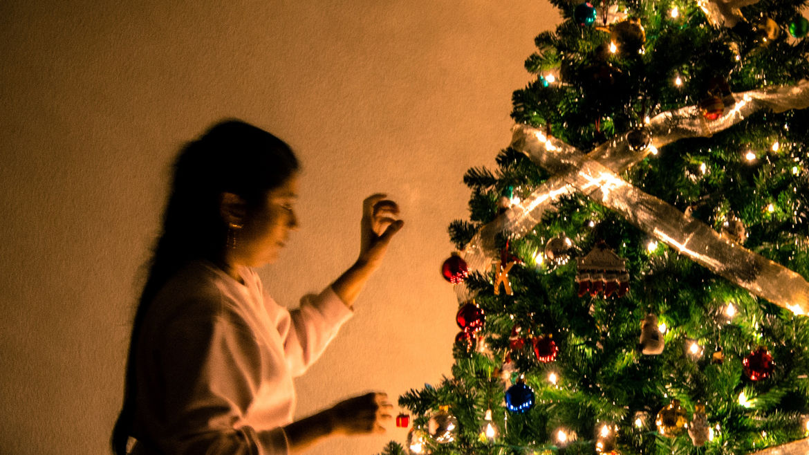Cover Photo: A woman with dark hair is decorating a beautiful Christmas tree