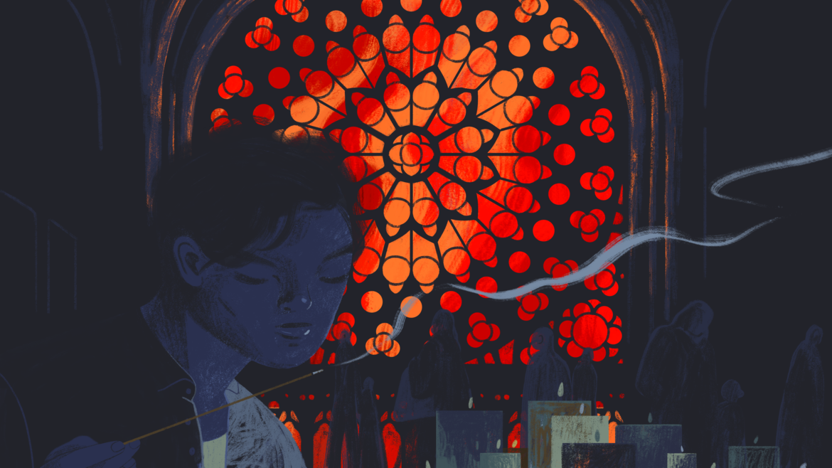 Cover Photo: An illustration of the author in silhouette against a stained glass window, beyond which is the night sky on fire