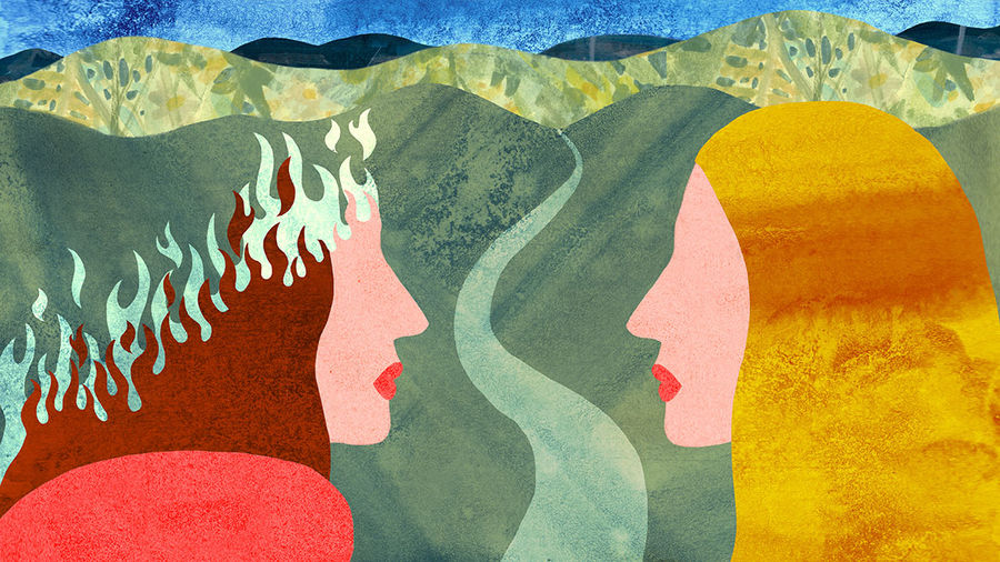 Cover Photo: A textured illustration of two women facing one another in front of an open road and blue sky. One woman's face goes up in blue flames.