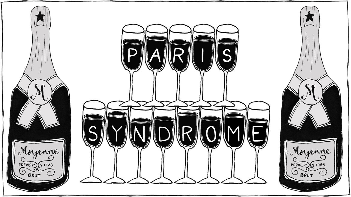 "Cover Photo: A tower of champagne flutes that spell out the words ""Paris Syndrome"""