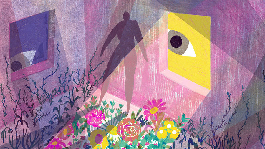 Cover Photo: An abstracted figure stands in a dark home as two eyes peer into the house. As the yellow figure's eye peers in, it produces a ray of light— in this ray of light flowers bloom and grow. In the rest of the house dead flowers and botanical plants wilt.