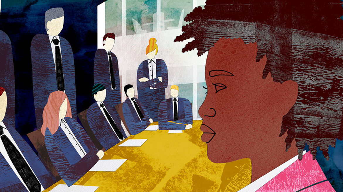 Cover Photo: On the left hand side a panel of faceless white figures sits at a desk while on the right side a black woman stares towards them