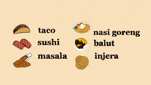 Cover Photo: illustration showing two lists of food terms + pictures from various cultures/languages, written in English, all non-italicized