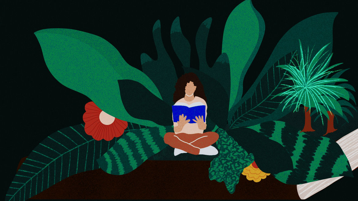 Cover Photo: illustration of a woman reading a book amidst lush, larger-than-life green foliage