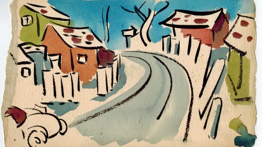 Cover Photo: watercolor painting of houses along a curving road