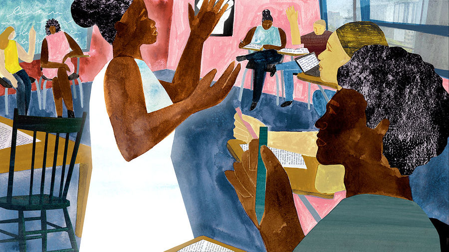 Cover Photo: illustration of a black woman professor leading a classroom discussion