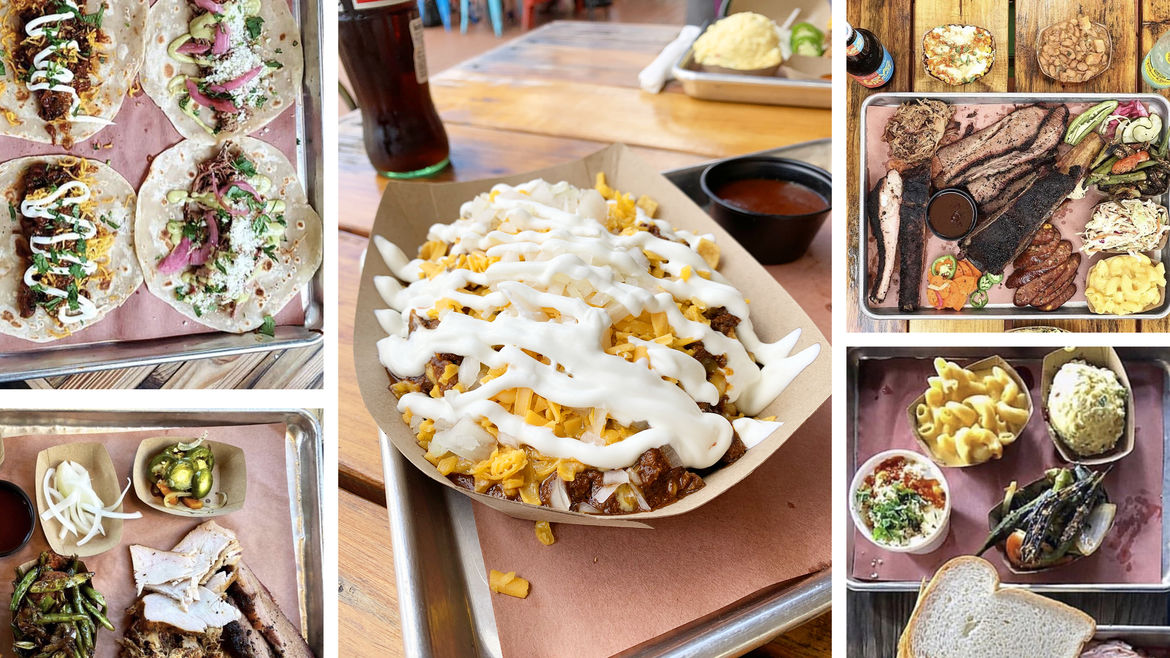 Cover Photo: A photo collage of tacos, a Frito pie, Houston barbecue, and other various delicious food items
