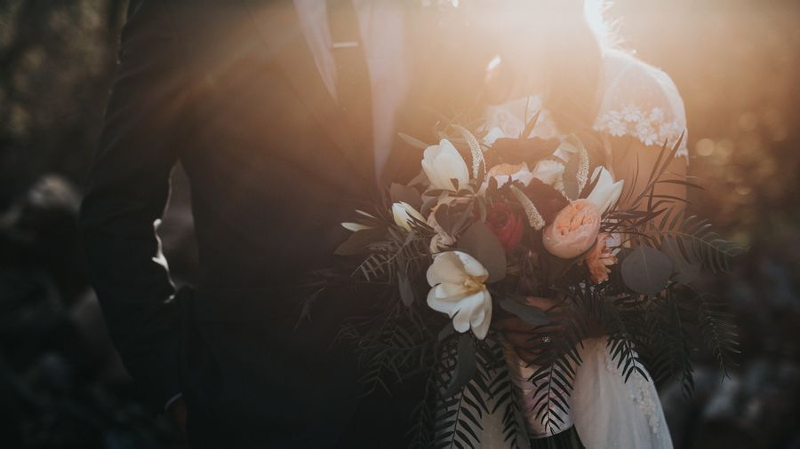 Cover Photo: An image of a groom on the left and a bride on the right. The bride in a white dress holds a flower bouquet. The sun shines from the back, and we do not see the two faces.