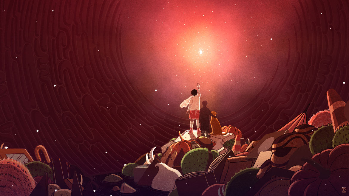Cover Photo: A boy, a different boy's shadow, and a small dog atop a pile of trash in a small sea of stomach acid, looking up toward the opening and the light.