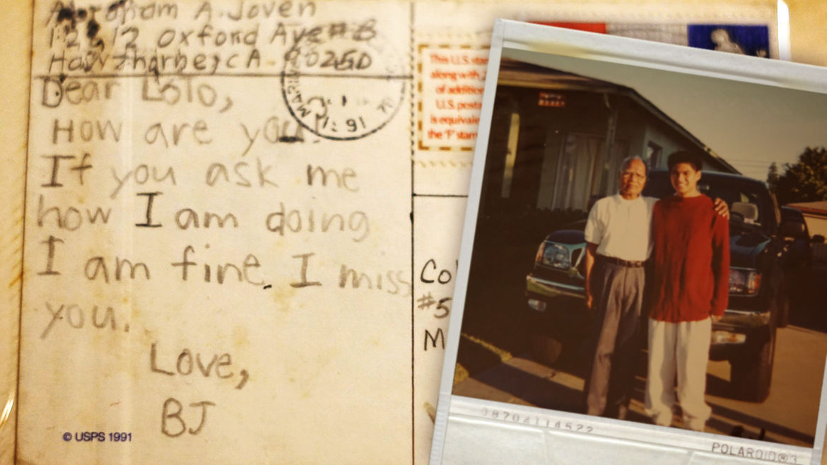"""Cover Photo: This image shows an old, yellowed postcard with child's handwriting, which reads: """"Dear Lolo, How are you? If you ask me how I am doing I am fine. I miss you. Love, BJ."""" On the side of this postcard, an original polaroid of the author and his grandfathers shows the two of them standing in front of a trick, the grandfather's arm around a teenaged AJ."""