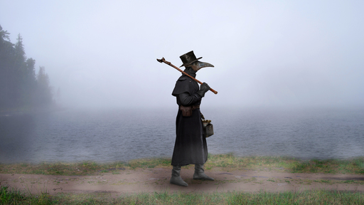 Cover Photo: image of a medieval plague doctor walking along a dirt road next to a lake blanketed in mist