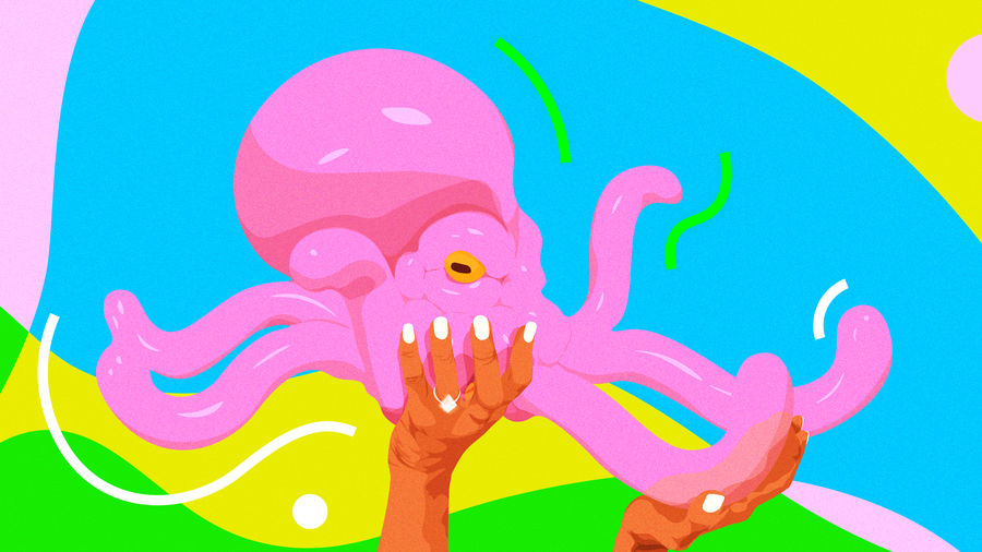 Cover Photo: A bright illustration of a bubble-gum pink balloon animal in the shape of an octopus, being held in the air up by a woman's hands, one of which has a ring on one finger.