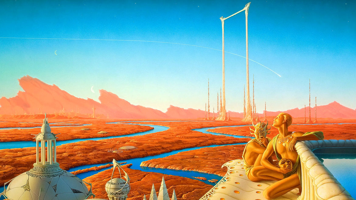 Cover Photo: An image of a fictionalize Mars where rivers run. through the lands and the sky is blue. Futuristic structures are on the plant and two orange, martian-looking being sit on the side.