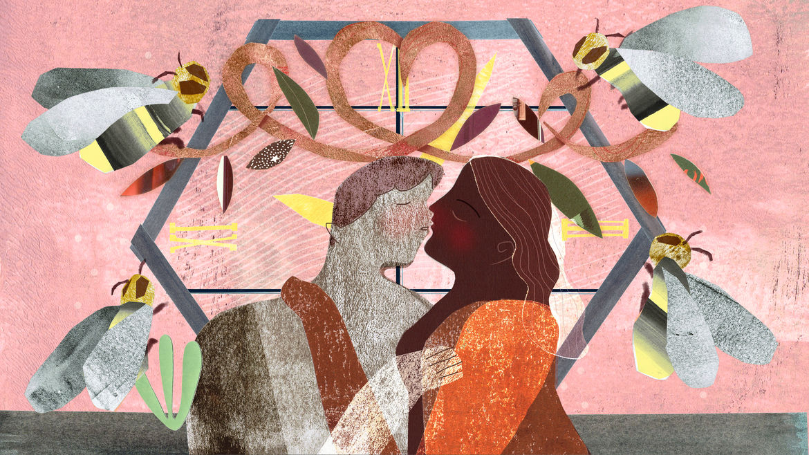 Cover Photo: An illustration of two figures about to kiss, in front of a window decorated with garlands and bees