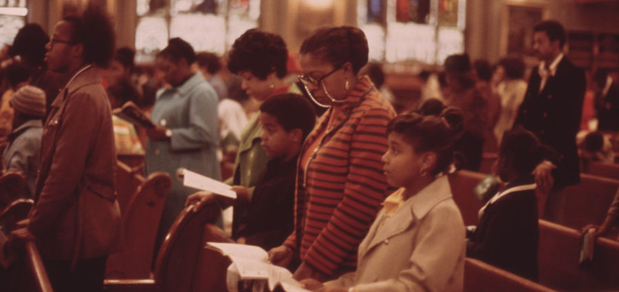 Cover Photo: Worshippers at Holy Angel Catholic Church on the South Side of Chicago, Illinois, by John H. White, 1973
