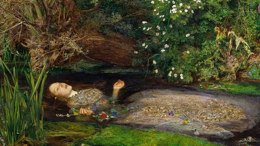Cover Photo: An image of  John Everett Millais's 'Ophelia' in which Ophelia lays in water surrounded by a lush  green landscape. She is wearing a dress and her head and hands are above water. Flowers surround her in the water.