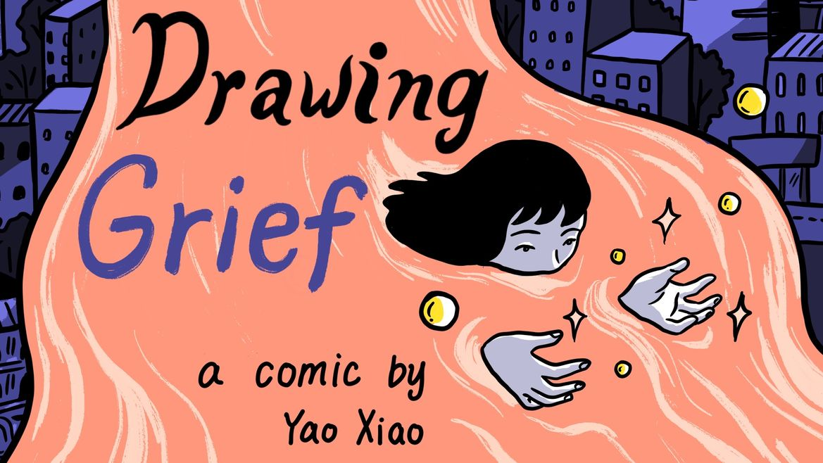 """Cover Photo: An image of a woman in an river orange river. The background of the river is a cityscape. The header reads: """"Drawing Grief"""" a comic by Yao Xiao"""
