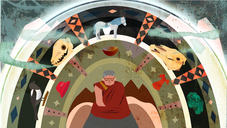 Cover Photo: A colorful illustration of a monk encircled by items necessary to help the deceased travel through their bardo: a horse, skulls, jade, a bird, a hat, a dress, and a bowl.