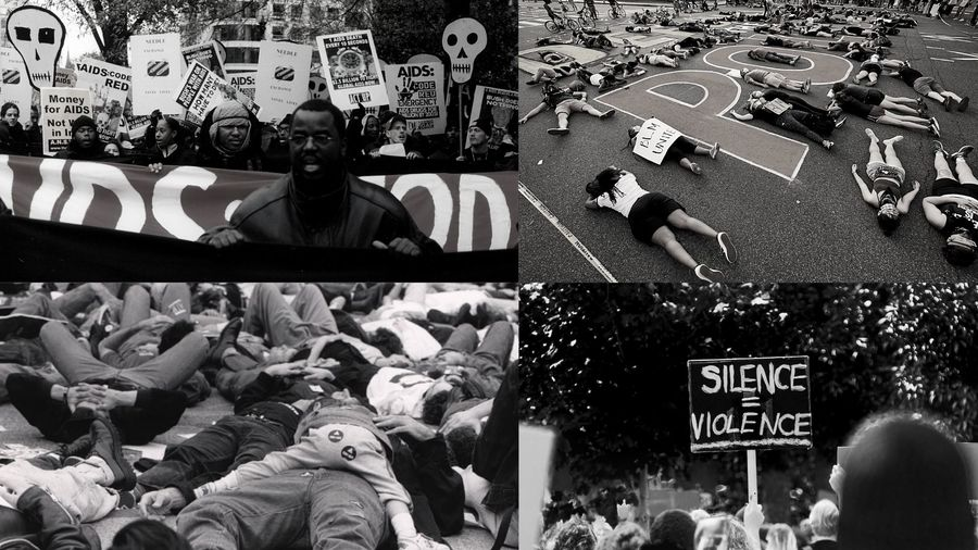"Cover Photo: A collage of four images—Two of AIDS protests and ""die-in"" protests in the 1990s, and two of Black Lives Matter protests and ""die-in"" protests in 2020."