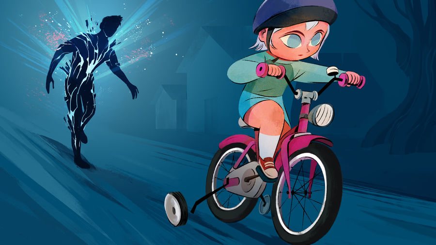 Cover Photo: An illustration of a little girl riding her bike in a suburb, a training wheel just fallen off, while her father tries to keep up. He is a shadow cracking open with light.