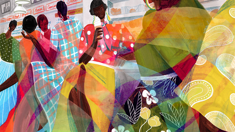 Cover Photo: illustration of a row of Black women sitting at a deli counter, talking and eating, all wearing bright, bold colors in a variety of patterns